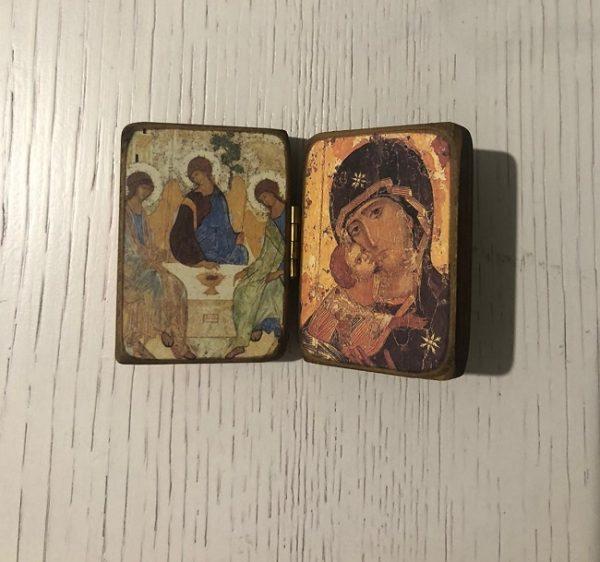Dittico SS. Trinita'-Madonna della Tenerezza-da tavolo – cm 4,5×6,5